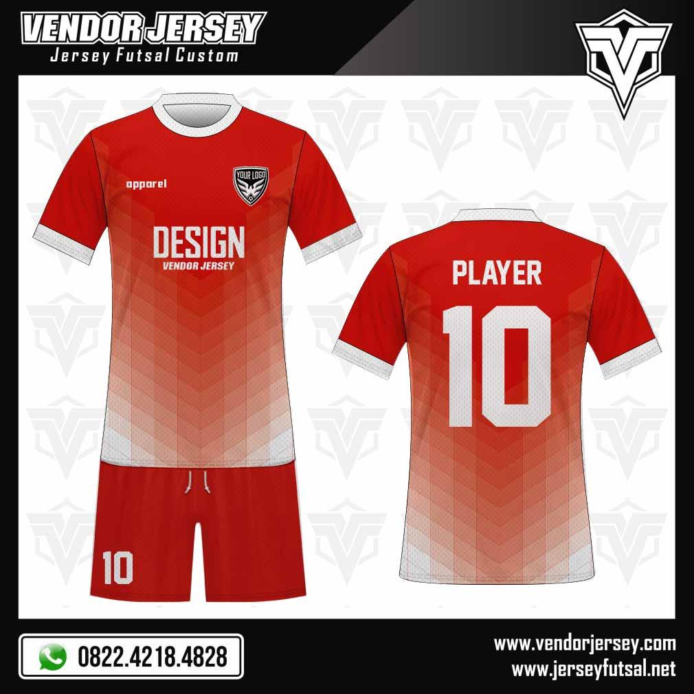 Desain Jersey Futsal Combilayer Efek Gradasi gradasi merah putih