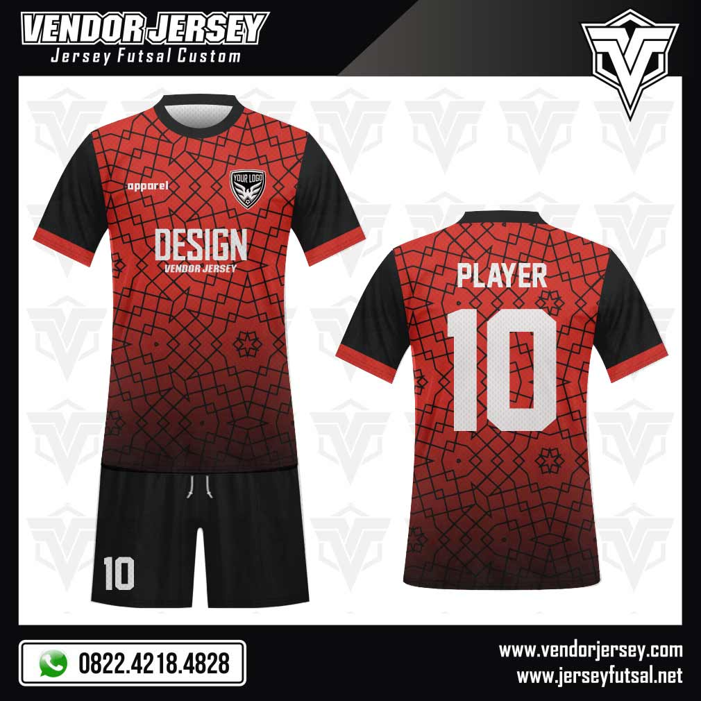 Desain Kaos Futsal Domline yang Artistik merah
