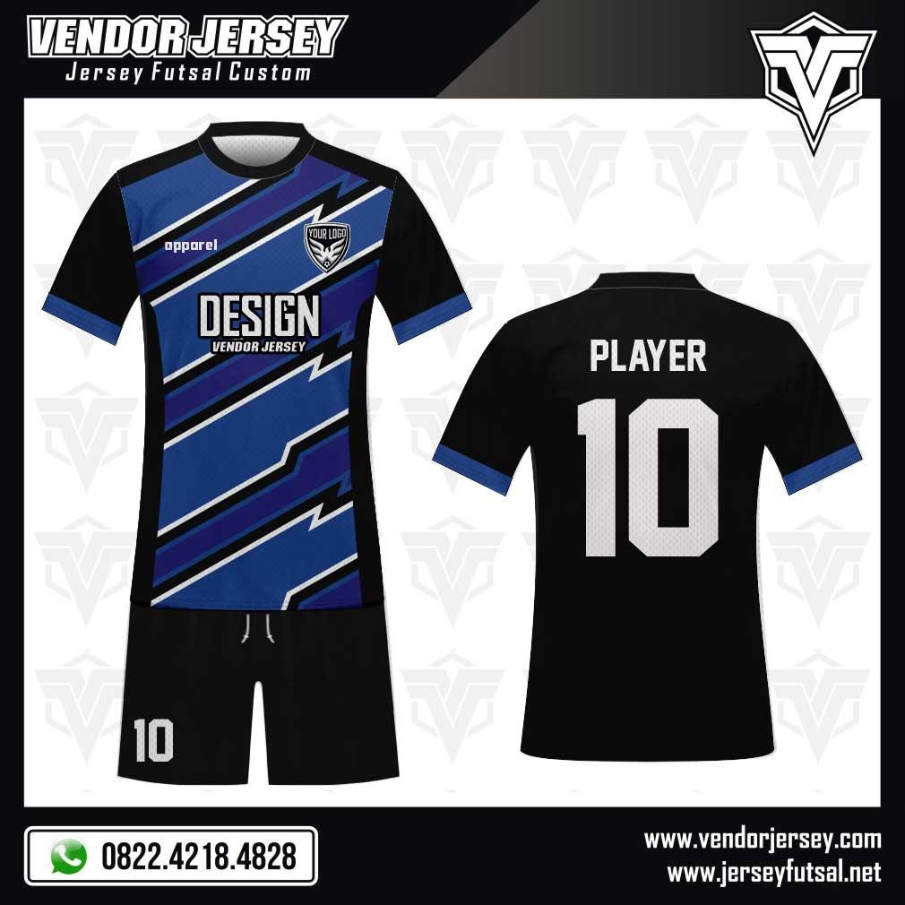 Desain Kostum Futsal Blitz yang Casual biru hitam