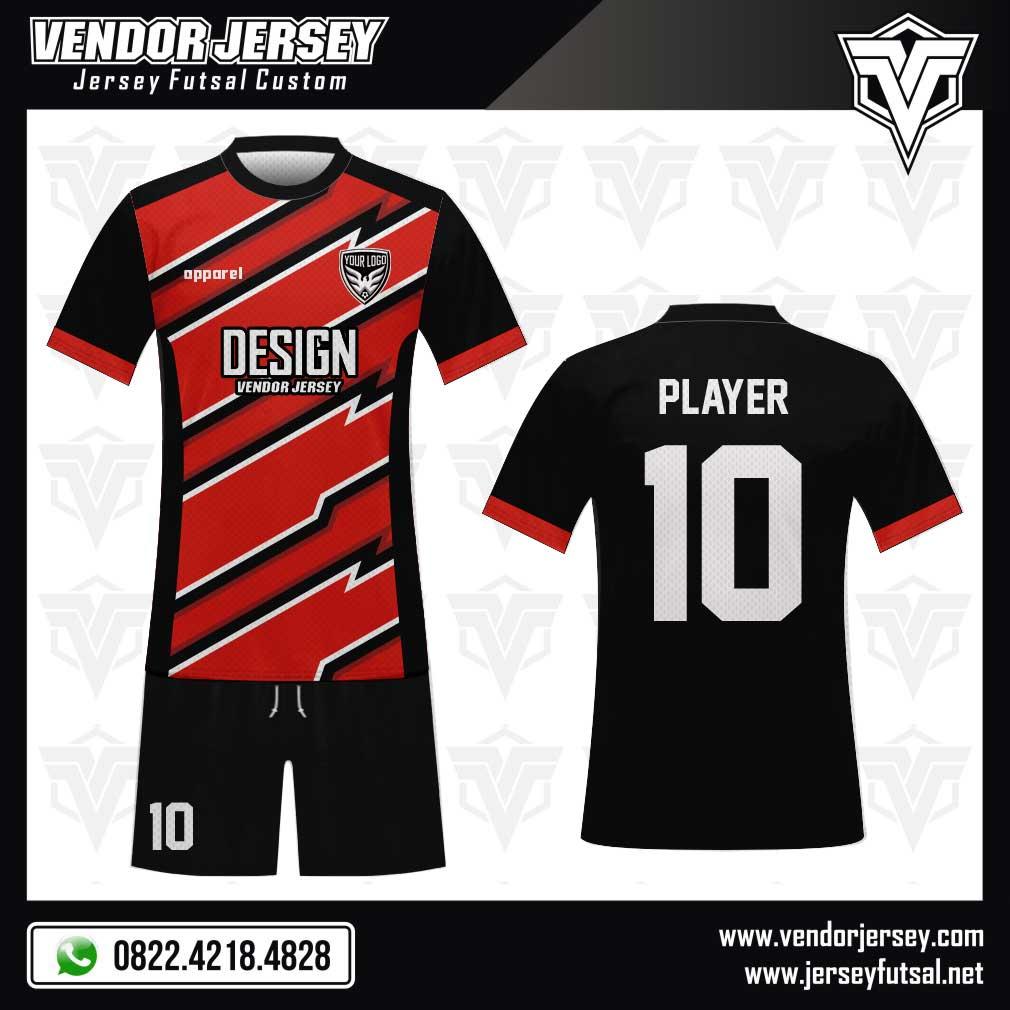 Desain Kostum Futsal Blitz yang Casual merah hitam