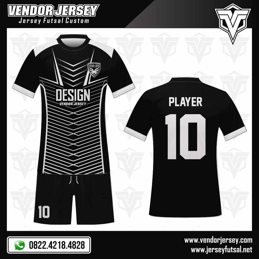 Desain Kostum Futsal Relativa yang Sporty warna hitam