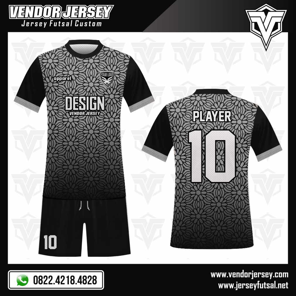 Desain Seragam Futsal Flowering Ornamen Bunga Kecil hitam abu