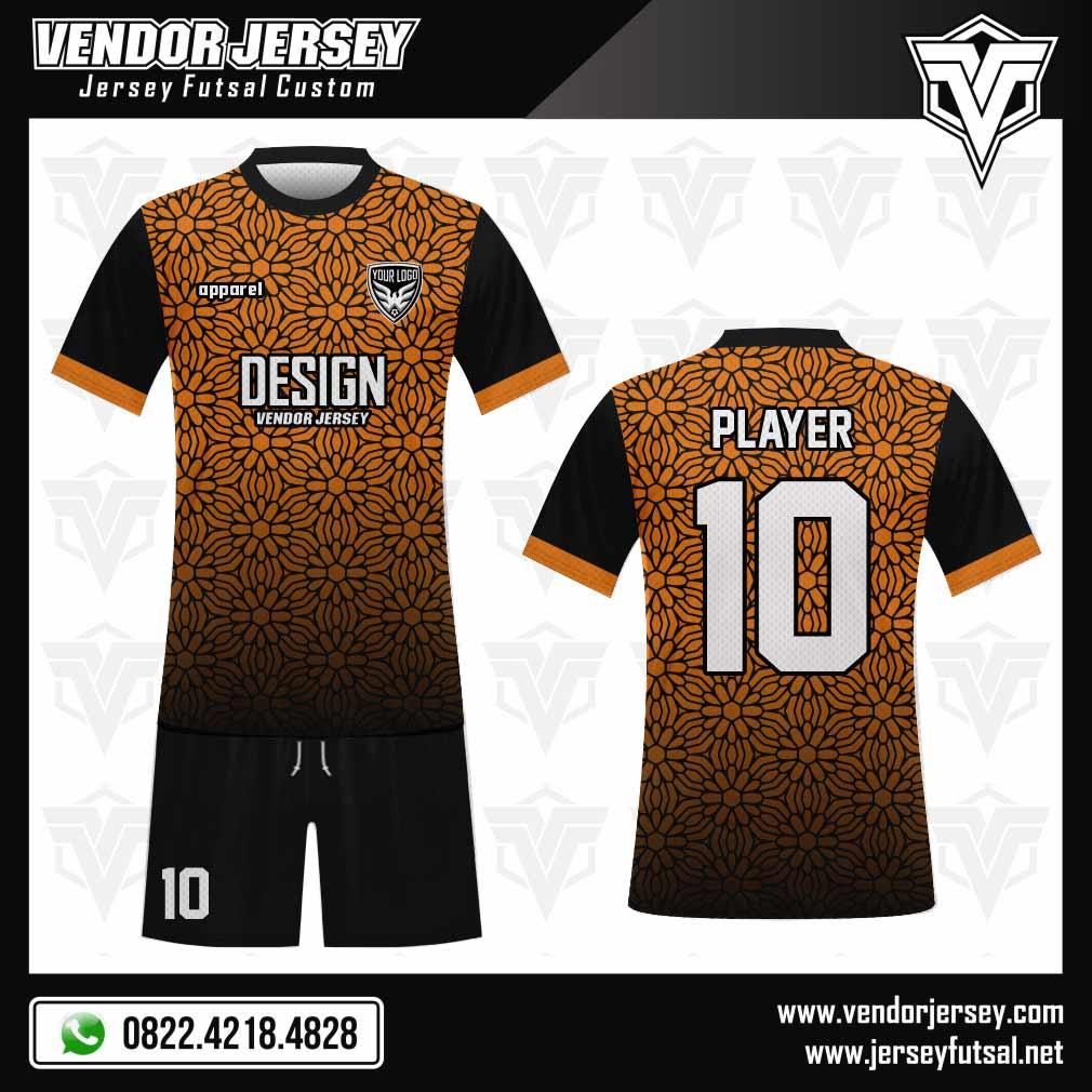Desain Seragam Futsal Flowering Ornamen Bunga Kecil hitam orange