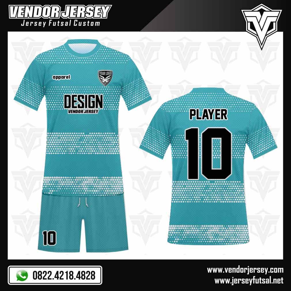 Desain Seragam Futsal Polkadot, Trendi dan Kekinian biru putih