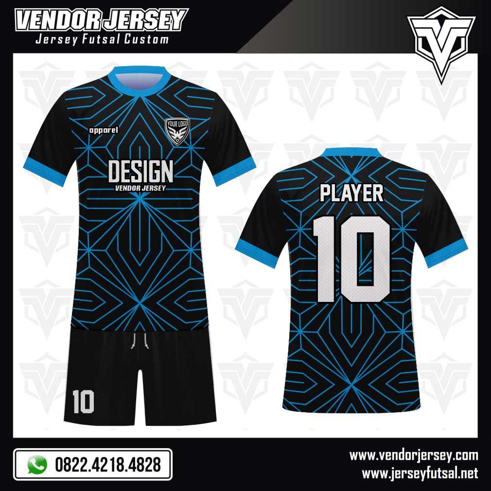 Desain baju bola Linear full print berwarna hitam biru