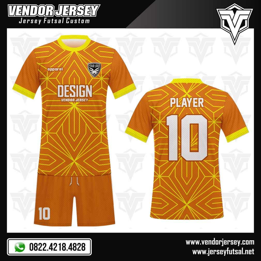 Desain baju bola Linear full print berwarna orange