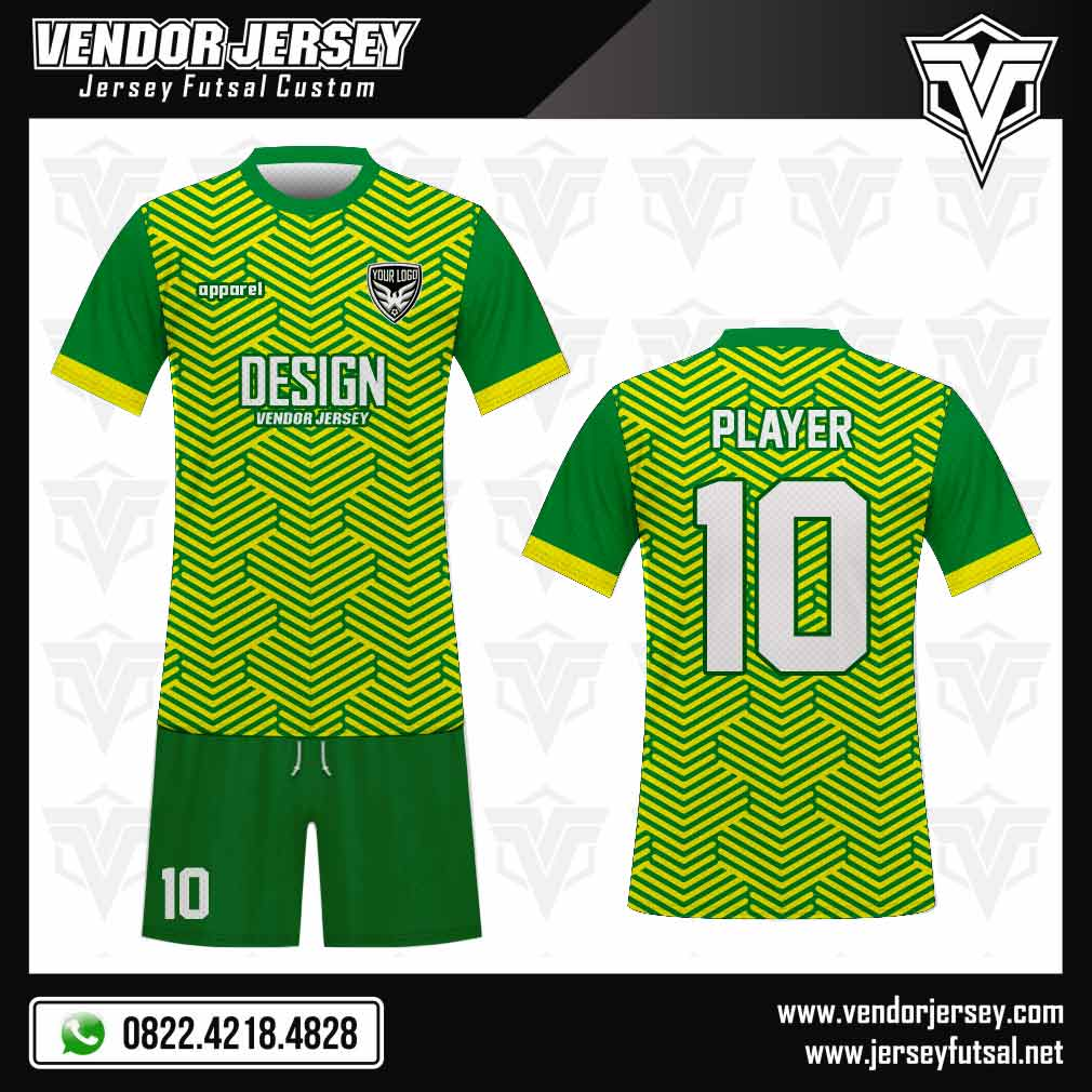 Desain baju bola Vistack warna hijau
