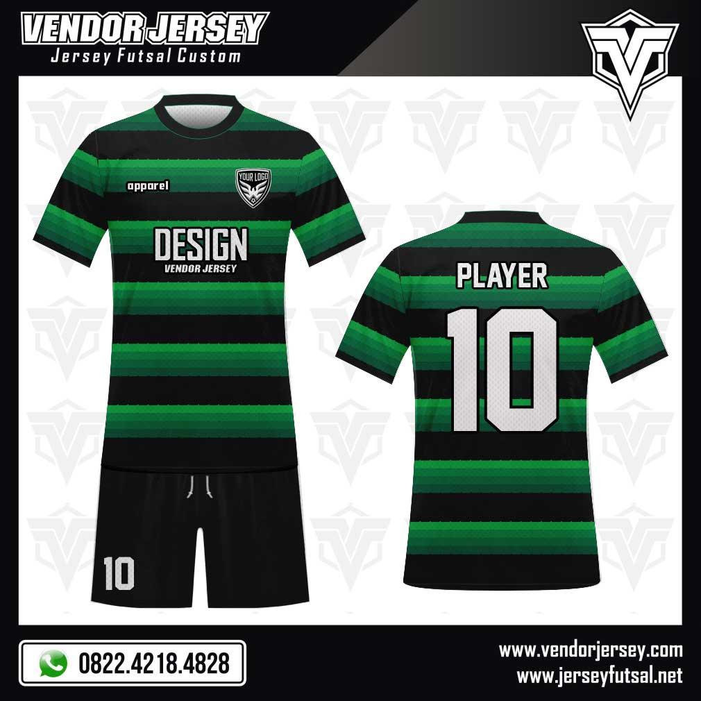 Desain baju futsal kombinasi warna hijau dan hitam