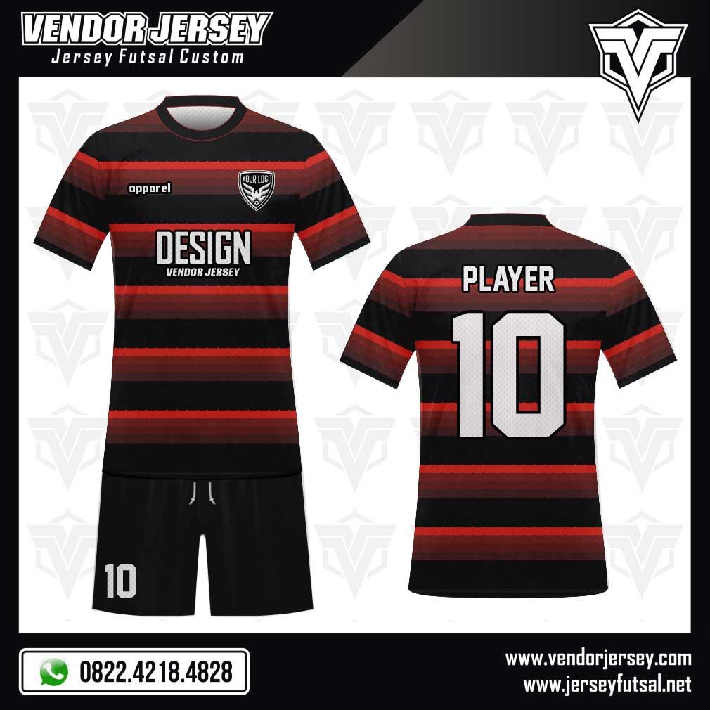 Desain baju futsal kombinasi warna merah dan hitam