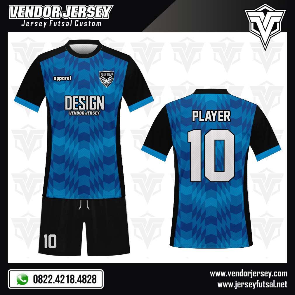 Desain jersey futsal casuale warna hitam-biru