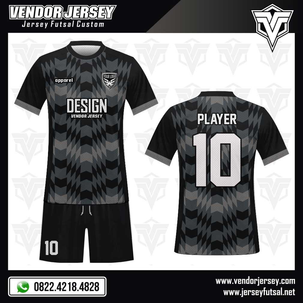 Desain jersey futsal casuale warna hitam-grey