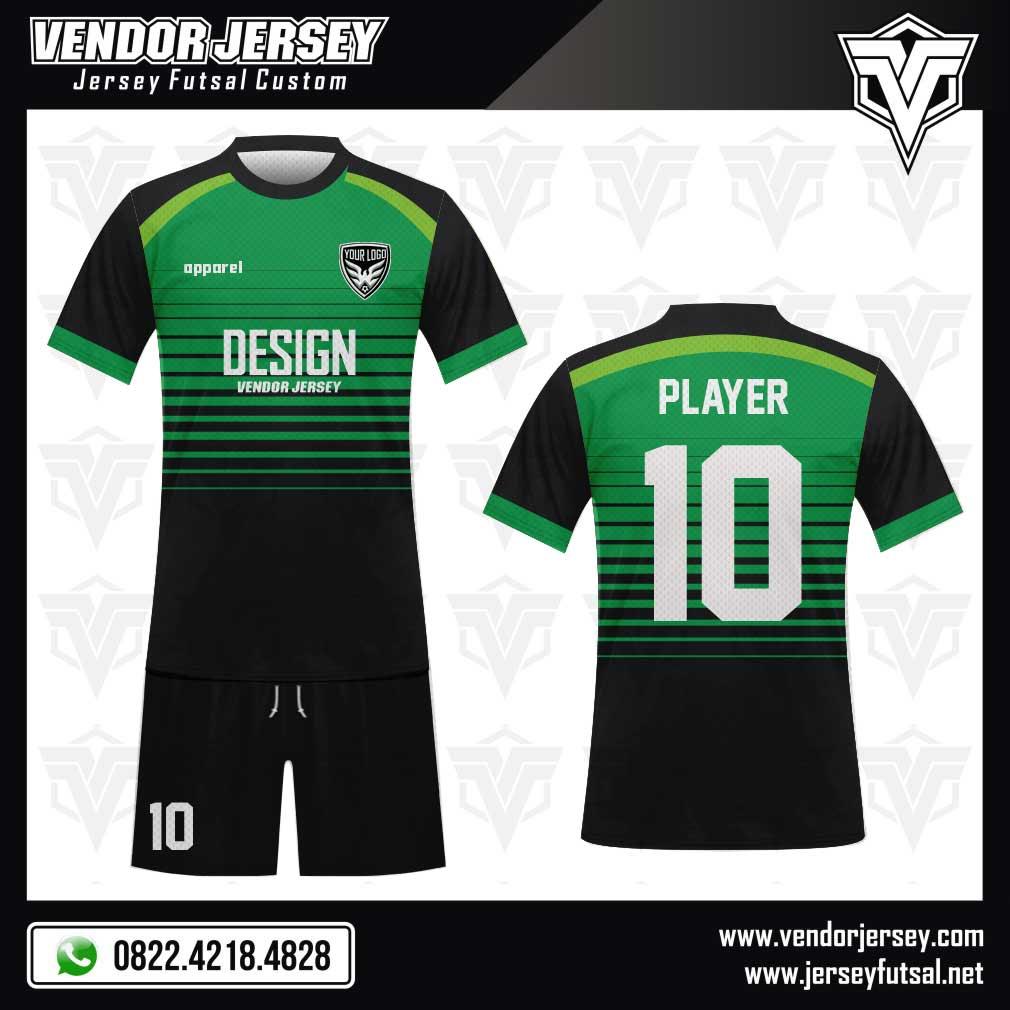 Desain jersey futsal warna hitam dan hijau