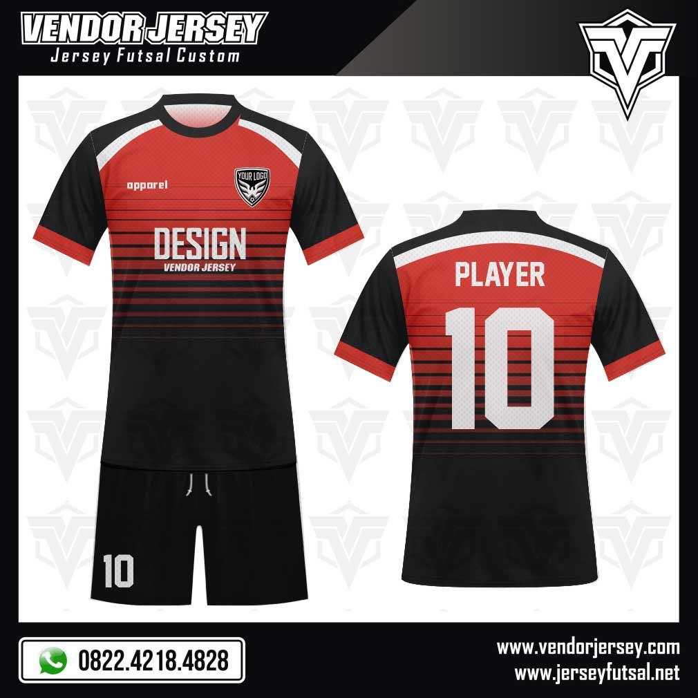 Desain jersey futsal warna hitam dan merah