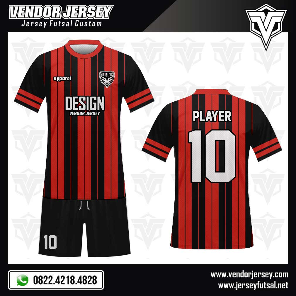 Desain kaos futsal Verticaline berwarna merah-hitam