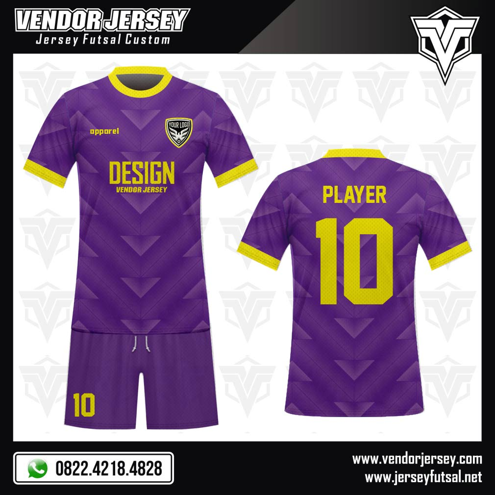 Desain Kostum Futsal Code Purple Triangle Warna Ungu Gradasi