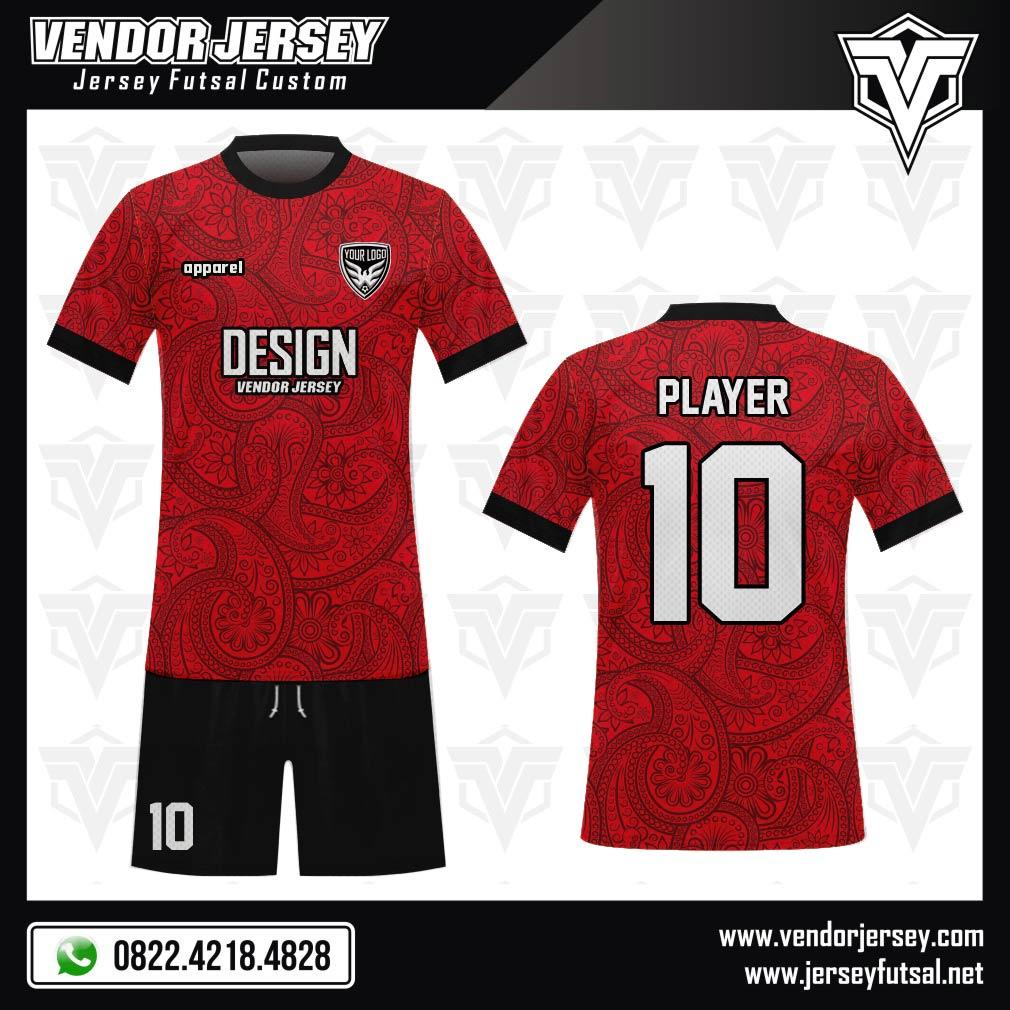 Desain Kostum Bola Futsal Code Rednico Batik Warna Merah Hitam